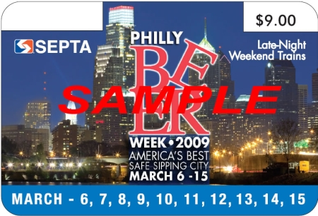 SEPTA Philly Beer Week 2009 pass - 3rd version