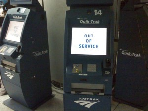 Amtrak Quik-Trak machines out of service on March 13. 2009