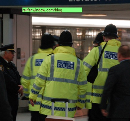British Transport Police patrol New York's Penn Station in an exchange program with the Amtrak Police Department.