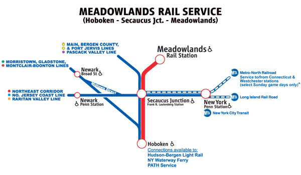Map of Rail Service to the Meadowlands