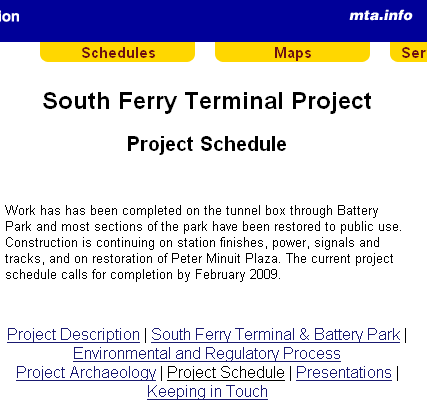 "South Ferry ""Project Schedule"" as captured on March 9, 2009"