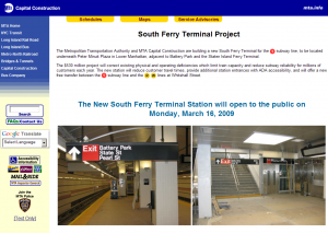 MTA website screen capture on March 12, 2009