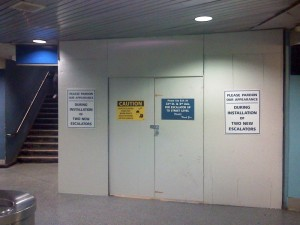 New escalators under construction at Penn Station