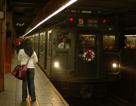 Vintage holiday subway train at 34 St - Herald Square on December 28, 2008.