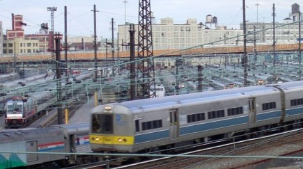 LIRR M-3 passing Sunnyside Yard on January 9, 2003.
