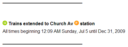 Service Advisory at MTA.info