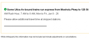 Screen shot of relevant advisory on MTA.info