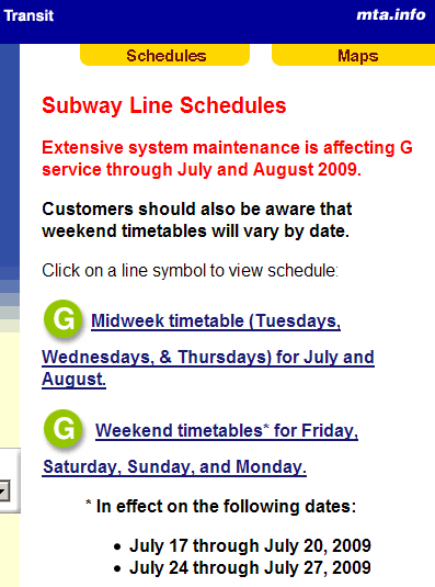 Temporary schedules for the G line