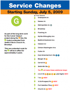 Service Changes: G Line Extension to Church Av beginning July 5, 2009
