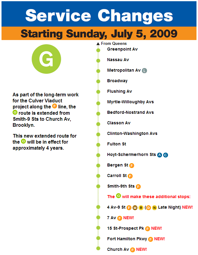 NYCT finally posts the Service Changes poster for the G line ...