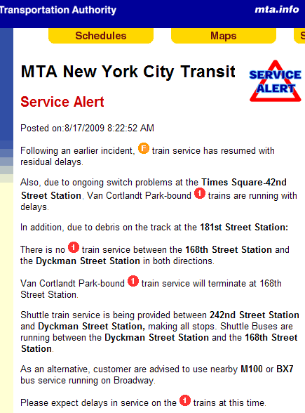 181 St Ceiling Collapse big - MTA Service Alert