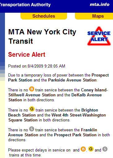 MTA New York City Transit - Service Alert