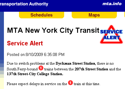 service alert - switch problems at Dyckman - 8-10-09