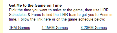 LIRR get me to the game on time