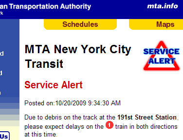 (1) line Service Alert at MTA.info