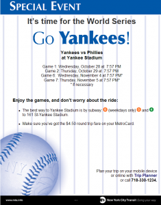 NYCT Yankees World Series Service Advisory Poster