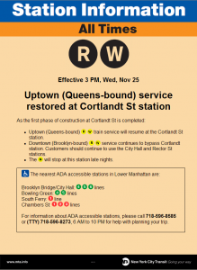 Cortlandt St Station reopens uptown side