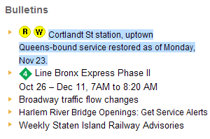 Cortlandt St Station to reopen monday error