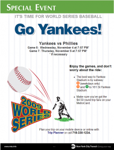 MTA NYC Transit - Service Advisories - games 6 and 7 of world series poster