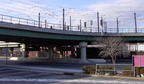 Below and beyond the elevated is part of NJT's coach yard. Photo by Brian Weinberg, 01/23/2003.