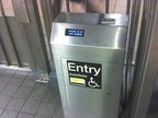 AutoGate Reduced Fare MetroCard fare gate @ 34 St & 6 Av. Cell phone photo taken by Brian Weinberg, 4/27/2006.