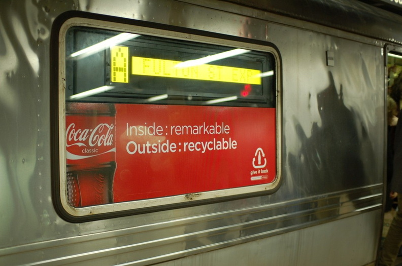 Coca-Cola ads covering the windows of R-44 5352 @ 14 St (A)