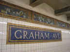 Wall tiles @ Graham Ave (L), front of Canarsie-bound platform. Photo taken by Brian Weinberg, 3/10/2004.