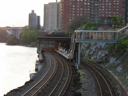MNR's Marble Hill station (Hudson Line). Photo taken by Brian Weinberg, 4/27/2004.