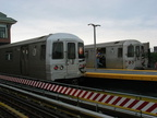 R-46 5792 and R-46 58?0 @ Coney Island-Stillwell Av (D/F/Q). Notice the newly painted end cap on 5792. Photo taken by Brian Wein