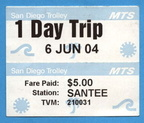 "San Diego Trolley ""1 Day Trip"" unlimited ride pass"