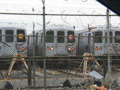 R-46 @ Coney Island Yard. This R-46 thinks it's on the LIRR. Photo taken by Brian Weinberg, 6/13/2004.