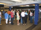 Long line for the single MVM accepting bills @ 42 St - Port Authority Bus Terminal (A). Photo taken by Brian Weinberg, 8/22/2004