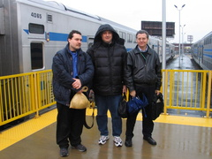 SubChatters Newkirk Plaza David, Booge, and Bob Andersen @ Long Island City Terminal at the end of the trip. Photo taken by Bria