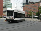 "Where did the ""A"" end go??? :) HBLR LRV 2011B @ nearing Exchange Place. Photo taken by Brian Weinberg, 07/30/2003."
