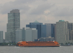 "Staten Island Ferry ""Samuel I. Newhouse"" in front of the Newport, NJ skyline. Photo taken by Brian Weinberg, 6/29/2005"