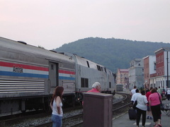 Amtrak P42DC 134 & Baggage 1206 @ Cumberland, MD (Capitol Limited). Photo taken by David Lung, June 2005.