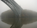 Manhattan end of the Henry Hudson Bridge in dense fog. Photo taken by Brian Weinberg, 11/6/2005.