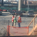 Temporary wooden boarding platform @ the Yankee Stadium Park & Ride. Photo taken by Brian Weinberg, 12/21/2005.