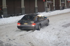 Mercedes-Benz S420 (stuck in the snow?) @ 27th Street and 5 Av. Photo taken by Brian Weinberg, 2/13/2006.