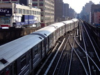 R-62A 2186 @ 125 St (1). Train is traveling northbound and is switching from the middle track to the northbound track. Photo tak