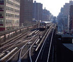 R-62A @ 125 St (1). Train is traveling northbound and is switching from the middle track to the northbound track. Photo taken by