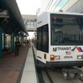 "NJ Transit HBLR LRV 2002A @ Pavonia-Newport. Note that this train is on the ""BAYONNE FLYER"" run. Photo taken by Brian"