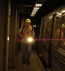 Subway signal maintainer who thinks 1050.9(c) does not apply to us @ 57 St - 7 av (Q). Photo taken by Tamar Weinberg, 8/20/2006.