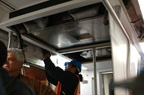 R-142 6736 @ East 180th Street Maintenance Facility (Bronx). B-end air conditioning unit is being installed. Photo taken by Bria