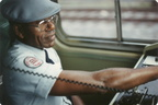 PATCO train operator during a fan trip. Photo taken by John Lung, July 1988.