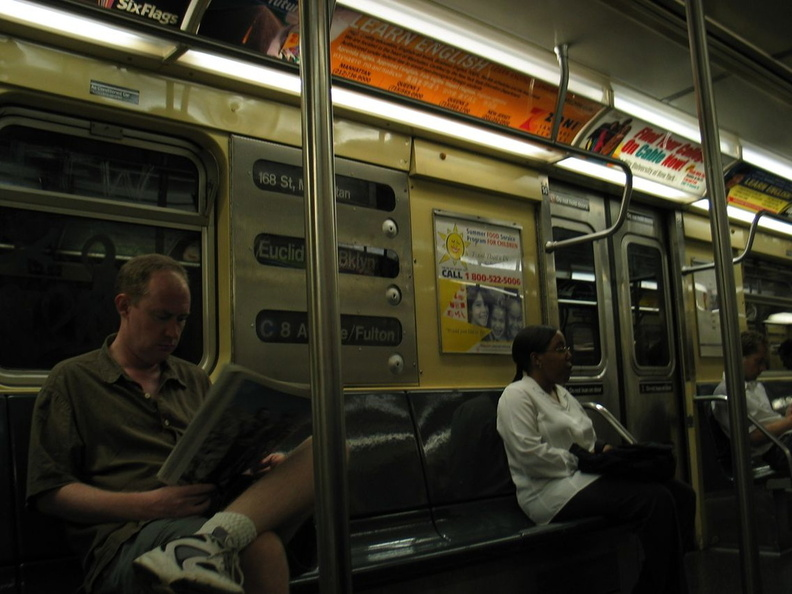 R-32GE 3935 @ 59 St - Columbus Circle (C). Interior. Photo taken by Brian Weinberg, 8/29/2003.
