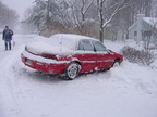 My beloved 1995 Pontiac Grand AM SE V-6 in the snow. This car has since been scrapped. Photo taken by Brian Weinberg, 12/25/2002
