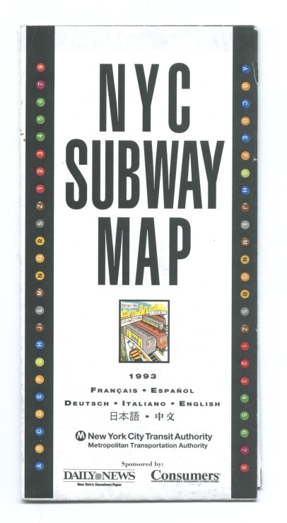 1993 NYC Subway Map Multilingual - Daily News edition