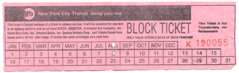 A block ticket I received while trying to get to Penn Station to catch my Amtrak train to Boston on August 8, 2007.