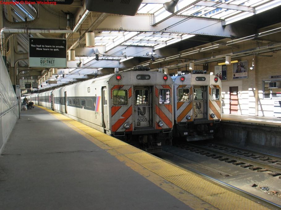 NJT Comet III Cabs 5003 and 5004 @ Newark Penn Station. Photo taken by Brian Weinberg, 2/16/2004.